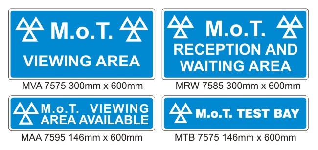 MOT Signs – Interior – 4 Sign Pack