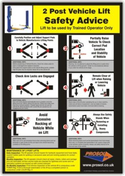 Safety Advice Sign – SAFE USE OF 2 POST VEHICLE LIFTS
