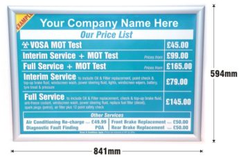 MOT and Servicing Menu Pricing Sign – CUSTOM DESIGN