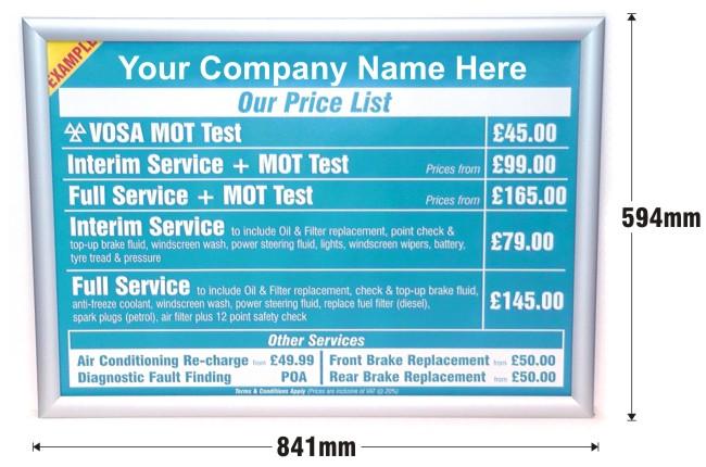 Mot And Servicing Menu Pricing Sign Custom Design Prosol