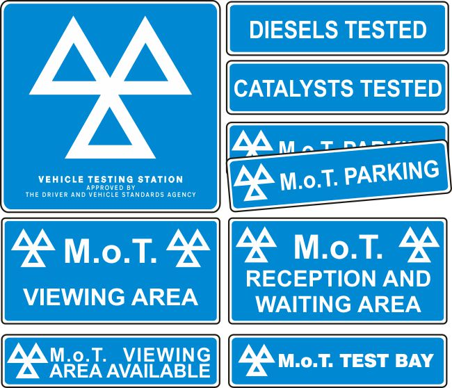 MOT Signs – Interior and Exterior – 9 Sign Pack