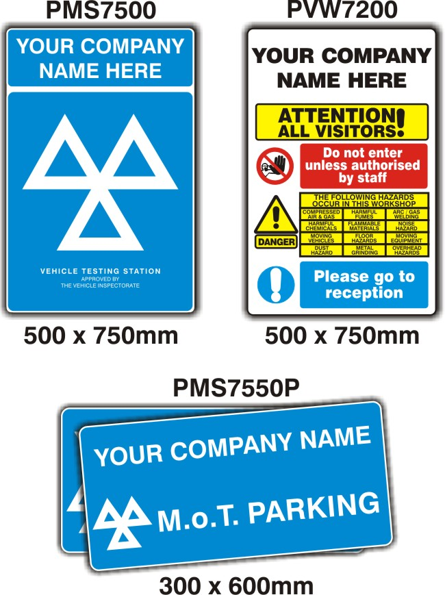 MOT Signs – 4 Sign Pack – PERSONALISED