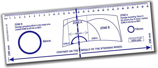 Windscreen Damage Assessment Ruler