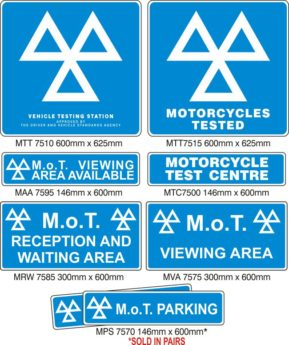 MOT Signs – Motorcycle Testers – 8 Signs