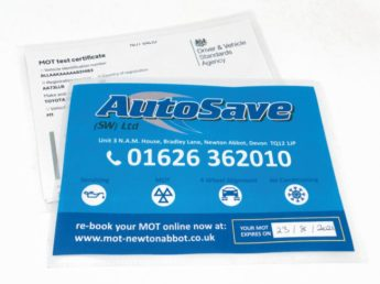 MOT Certificate Wallets with Advert Inserts