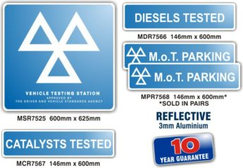 MOT Signs – REFLECTIVE Exterior – 5 Sign Pack
