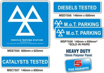 MOT Signs – HEAVY DUTY Exterior – 5 Sign Pack