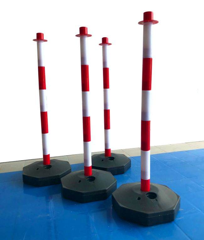 Red & White 90cm Post with Fillable Base for Barrier Chain