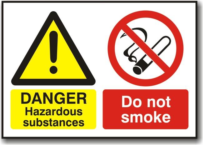 Danger Hazardous Substances Do Not Smoke Sign