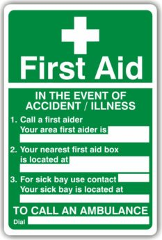 First Aid Action Sign