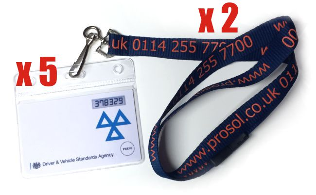 Flexible ID Card Holders (x5) with Lanyards (x2)
