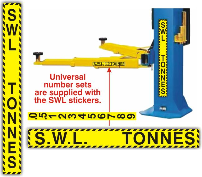 Safe Working Load Sticker – VERTICAL (700 x 75mm)