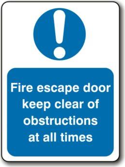 Fire Escape Door Keep Clear
