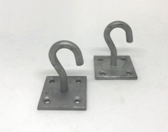 Galvanised Steel Hook on mounting plate for Barrier Chain (single)