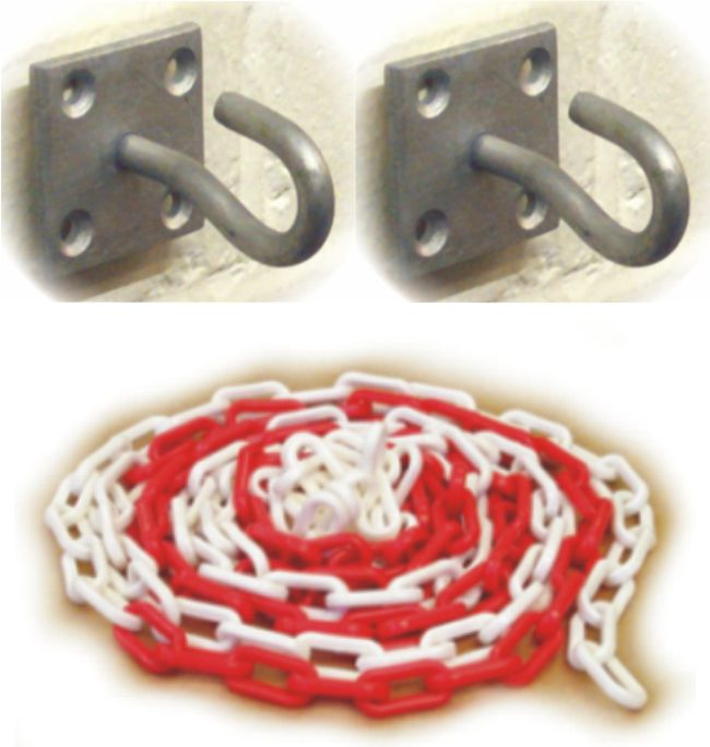 Plastic Chain – Red/White – 5M with 2 Wall Mount Hooks