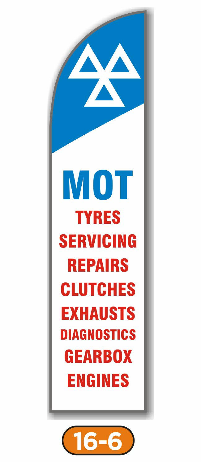 Feather Flag – MOT Tyre Servicing Repairs Clutches Exhausts Diagnostics Gearbox Engines