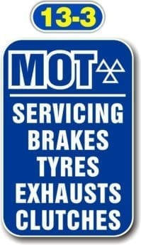 Sign Panels for Wall Mounting – MOT Servicing, Brakes, Tyres, Exhausts, Clutches