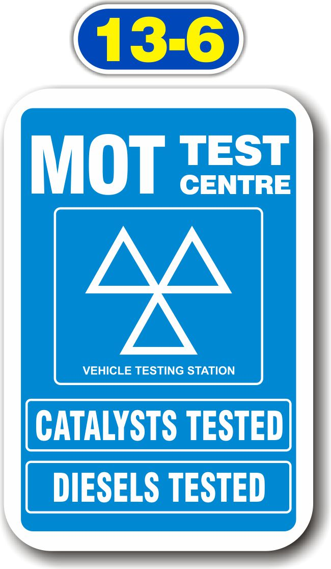 Sign Panels for Wall Mounting – MOT Test Centre – Diesels Tested, Catalysts Tested
