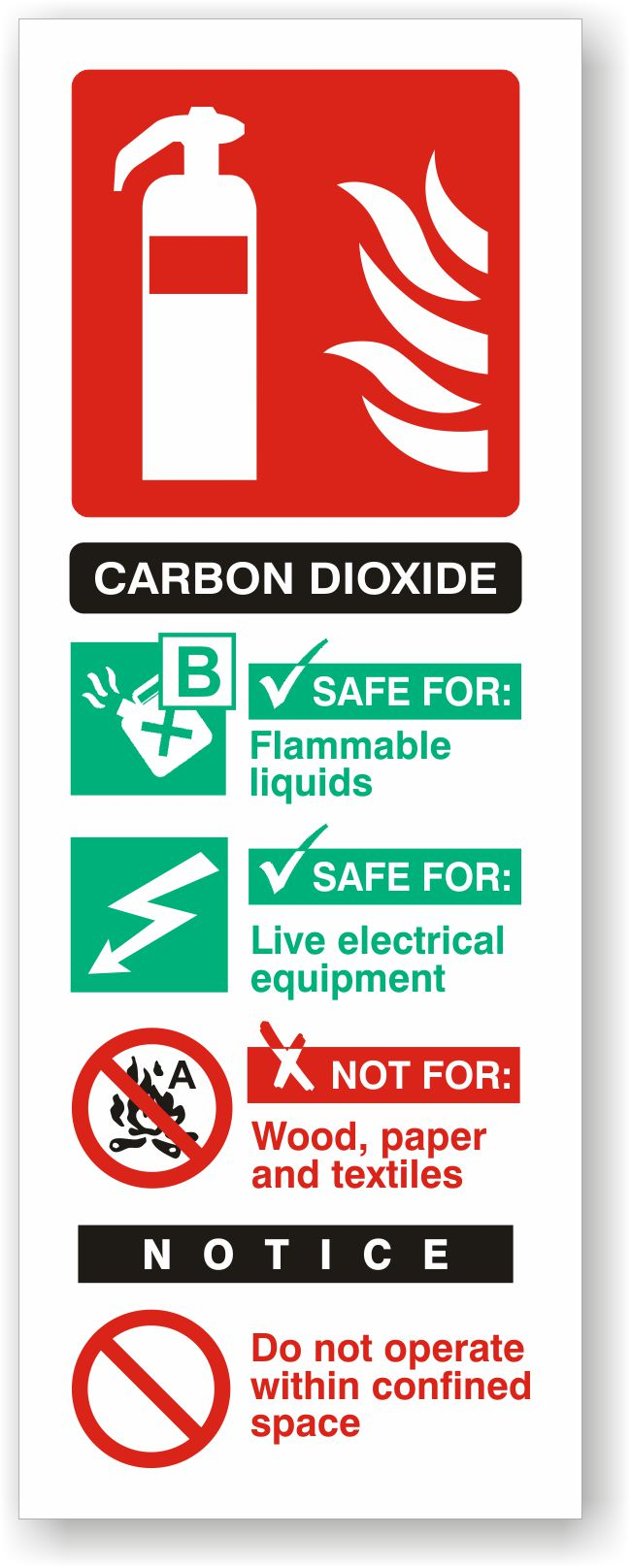 Carbon Dioxide Fire Extinguisher I.D. Sign