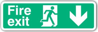 Fire Exit DOWN Arrow Sign