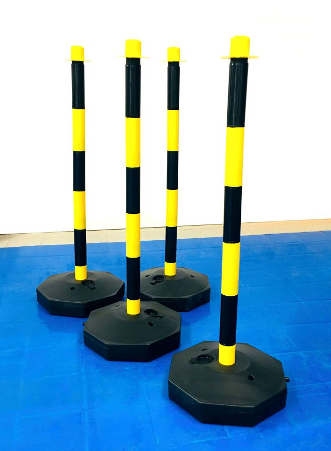 Yellow & Black 90cm Post with Fillable Base for Barrier Chain