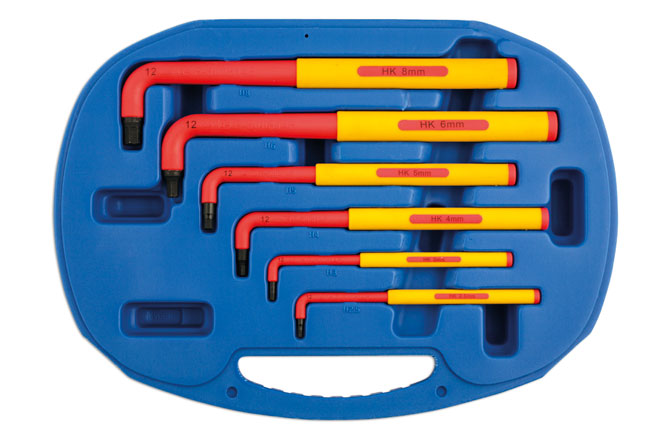 VDE Certified Insulated HEX Key Set Extra Long 6pc