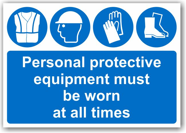 PPE must be worn at all times (A3 Sign)