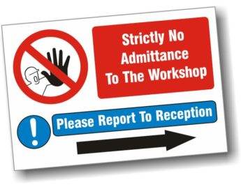 "Sign with ""S"" Hooks – Strictly No Admittance – 40 x 30cm"