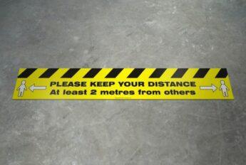 STRIP Floor Decal – COVID-19 Distance Warning – 75 x 15cm – EXTERIOR GRADE