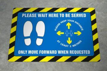 LARGE Floor Decal – Please Wait Here – 60 x 40cm – EXTERIOR GRADE
