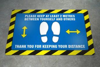 LARGE Floor Decal – COVID-19 Distance Advice – 60 x 40cm EXTERIOR GRADE
